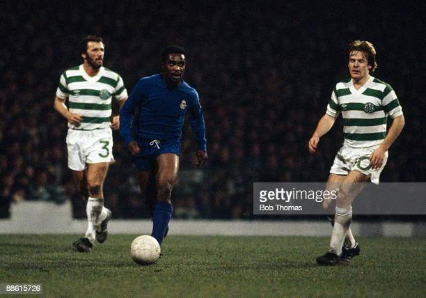 Real Madrid winger Laurie Cunningham moves between Celtic defenders Danny McGrain and Murdo MacLeod during their European Cup 3rd round tie at...
