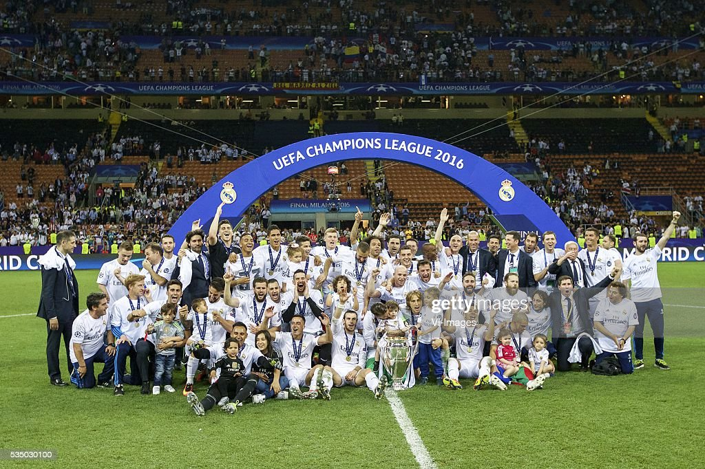 Real Madrid winner of UEFA Champions League 2015 2016 with Champions League trophy, Coupe des clubs Champions Europeeens during the UEFA Champions League final match between Real Madrid and Atletico Madrid on May 28, 2016 at the Giuseppe Meazza San Siro stadium in Milan, Italy.