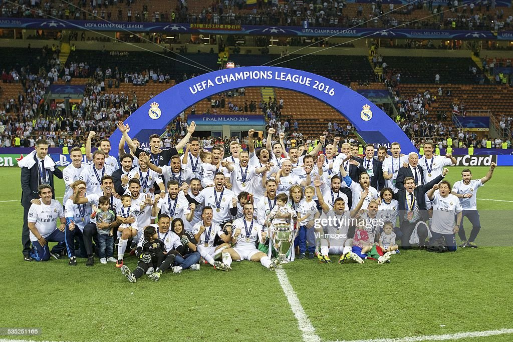 Real Madrid winner of UEFA Champions League 2015 2016 with Champions League trophy, Coupe des clubs Champions Europeeens, Cristiano Ronaldo of Real Madrid, Karim Benzema of Real Madrid. Luka Modric of Real Madrid, Gareth Bale of Real Madrid, Toni Kroos of Real Madrid, Daniel Carvajal of Real Madrid, Marcelo of Real Madrid, Casemiro of Real Madrid, Pepe of Real Madrid, goalkeeper Keylor Navas of Real Madrid, Sergio Ramos of Real Madrid, Raphael Varane of Real Madrid, Nacho of Real Madrid, James Rodriguez of Real Madrid, goalkeeper Kiko Casilla of Real Madrid, coach Zinedine Zidane of Real Madrid, Mateo Kovacic of Real Madrid, Alvaro Arbeloa of Real Madrid, Lucas Vazquez of Real Madrid, Jese of Real Madrid, Isco of Real Madrid, Danilo of Real Madrid, during the UEFA Champions League final match between Real Madrid and Atletico Madrid on May 28, 2016 at the Giuseppe Meazza San Siro stadium in Milan, Italy.