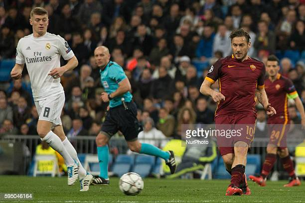 Real Madrids Aleman Kross and Romas Italian Totti in action during the Champions league football match Real Madrid CF vs Roma at the Santiago...