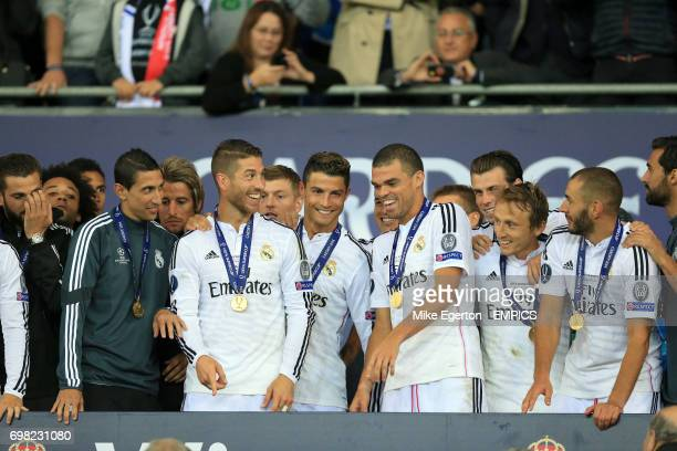 Real Madrid's Angel di Maria Sergio Ramos Cristiano Ronaldo Pepe Luka Modric and Karim Benzema celebrate after winning the UEFA Super Cup