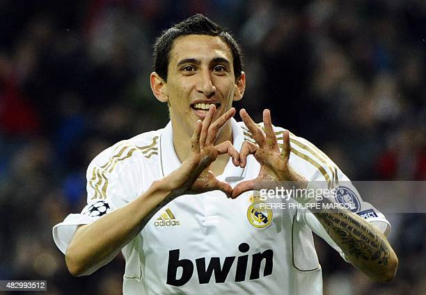 Real Madrid's Argentinian midfielder Angel di Maria celebrates after scoring during the UEFA Champions League second leg quarterfinal football match...