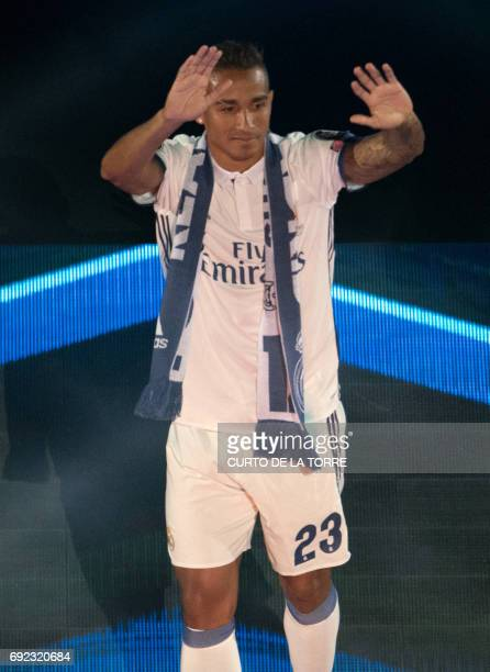 Real Madrid's Brazilian defender Danilo celebrates the team's win at the Santiago Bernabeu stadium in Madrid on June 4 2017 after winning the UEFA...