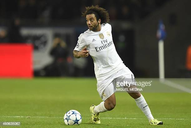 Real Madrid's Brazilian defender Marcelo controls the ball during the UEFA Champions League football match Paris SaintGermain vs Real Madrid on...