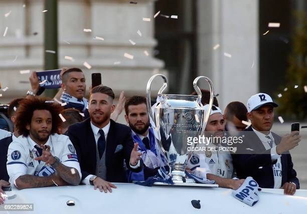 Real Madrid's Brazilian defender Marcelo Real Madrid's Portuguese forward Cristiano Ronaldo Real Madrid's defender Sergio Ramos Real Madrid's...