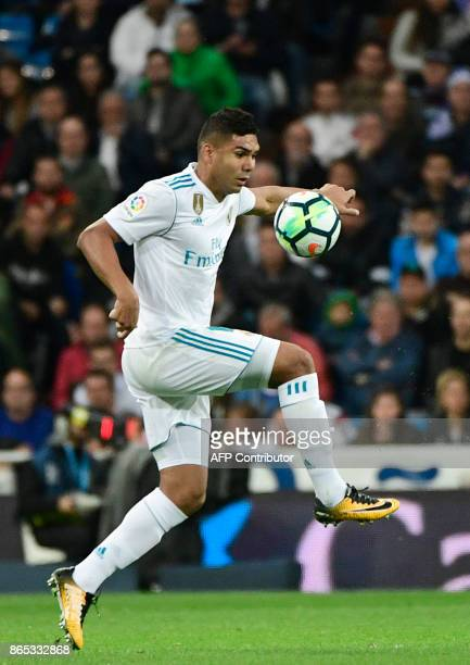 Real Madrid's Brazilian midfielder Casemiro controls the ball during the Spanish league football match Real Madrid CF vs SD Eibar at the Santiago...