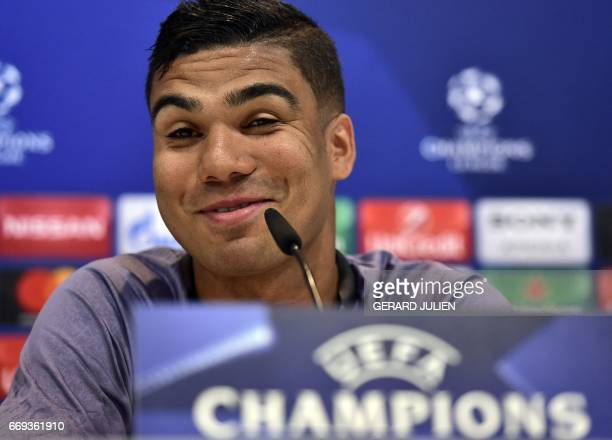 Real Madrid's Brazilian midfielder Casemiro gives a press conference at Valdebebas Sport City in Madrid on April 17 on the eve of the UEFA Champions...
