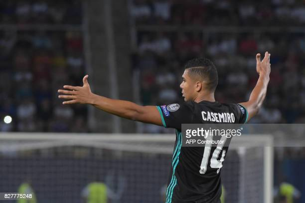 Real Madrid's Brazilian midfielder Casemiro reacts during the UEFA Super Cup football match between Real Madrid and Manchester United on August 8 at...