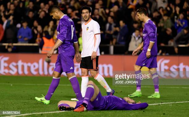 Real Madrid's Brazilian midfielder Casemiro Real Madrid's Welsh forward Gareth Bale and Real Madrid's Portuguese forward Cristiano Ronaldo walk after...