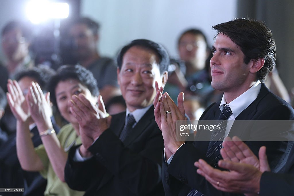Real Madrid's Brazilian midfielder Kaka (R) attends the Grand Sino-Brazil Cultural and Sports Exchange Activities and Sino-Brazil Football Carnival launching ceremony at National Stadium on July 2, 2013 in Beijing, China.