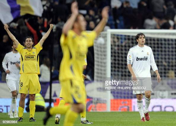 Real Madrid's Brazilian midfielder Kaka looks dejected after a Spanish King Cup football match against Alcorcon at Santiago Bernabeu stadium on...