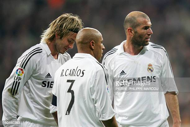 Real Madrid's British David Beckham Brazilian Roberto Carlos and French Zinedine Zidane stand during their King's Cup semifinals 2nd leg football...
