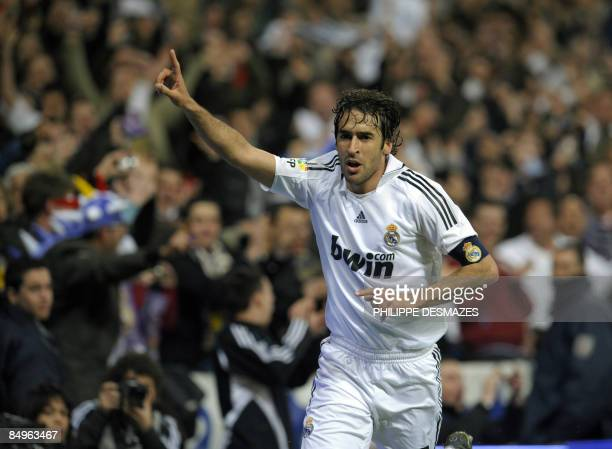 Real Madrid's captain Raul celebrates after scoring his second goal during the Spanish league football match against Betis Sevilla at the Santiago...