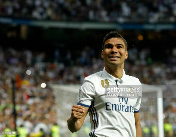 Real Madrid's Casemiro celebrates a goal during the Spanish league football match Real Madrid CF vs FC Barcelona at the Santiago Bernabeu stadium in...