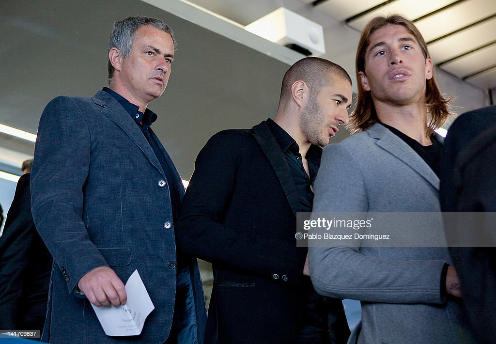 Real Madrid's Coach Jose Mourinho and players Karim Benzema and Sergio Ramos attend Real Madrid Resort Island presentation at Estadio Santiago Bernabeu on March 22, 2012 in Madrid, Spain.