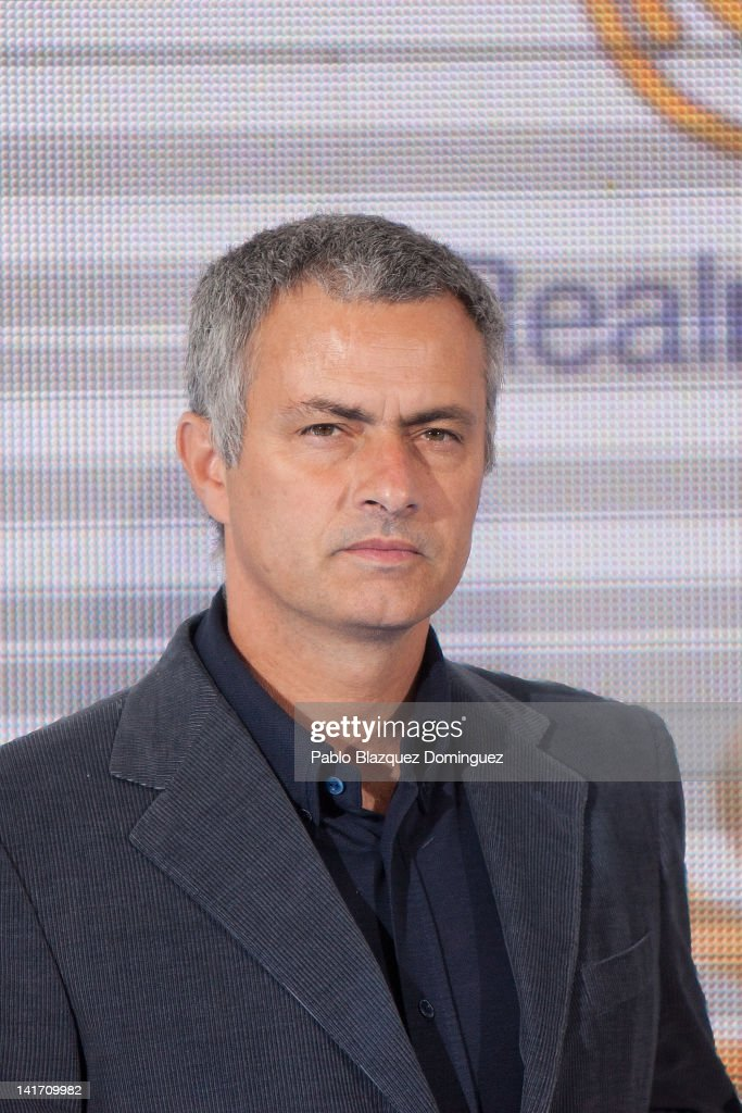 Real Madrid's Coach Jose Mourinho attends Real Madrid Resort Island presentation at Estadio Santiago Bernabeu on March 22, 2012 in Madrid, Spain.