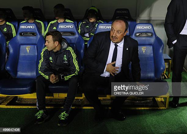 Real Madrid's coach Rafael Benitez looks on before the match during the Spanish Copa del Rey football match Cadiz CF vs Real Madrid at the Ramon de...