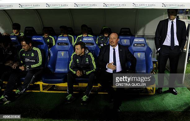 Real Madrid's coach Rafael Benitez looks on before the Spanish Copa del Rey football match Cadiz CF vs Real Madrid at the Ramon de Carranza in Cadiz...