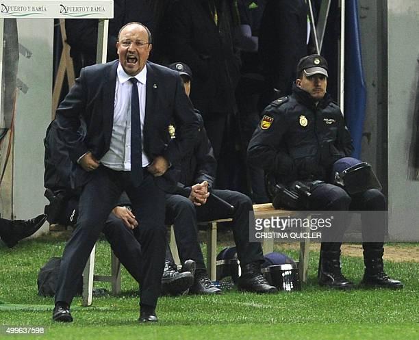 Real Madrid's coach Rafael Benitez shouts during the Spanish Copa del Rey football match Cadiz CF vs Real Madrid at the Ramon de Carranza in Cadiz on...