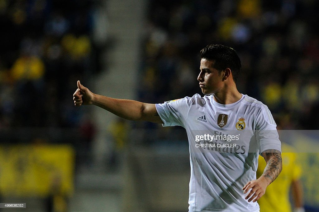 Real Madrid's Colombian midfielder James Rodriguez gives the thumbs up during the Spanish Copa del Rey football match Cadiz CF vs Real Madrid at the...
