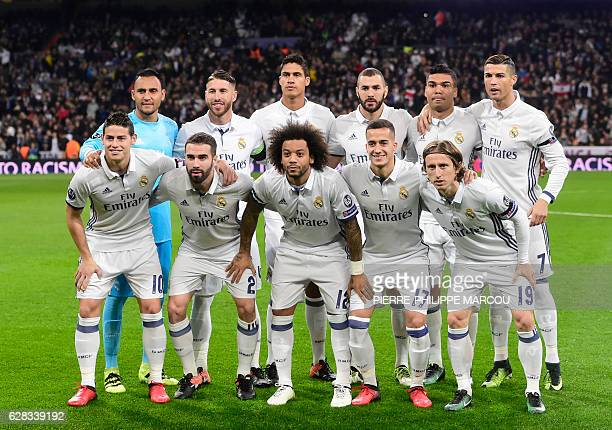 Real Madrid's Colombian midfielder James Rodriguez Real Madrid's defender Dani Carvajal Real Madrid's Brazilian defender Marcelo Real Madrid's...