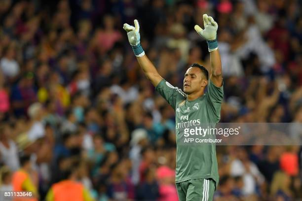 Real Madrid's Costa Rican goalkeeper Keylor Navas celebrates at the end of the Spanish Supercup first leg football match FC Barcelona vs Real Madrid...