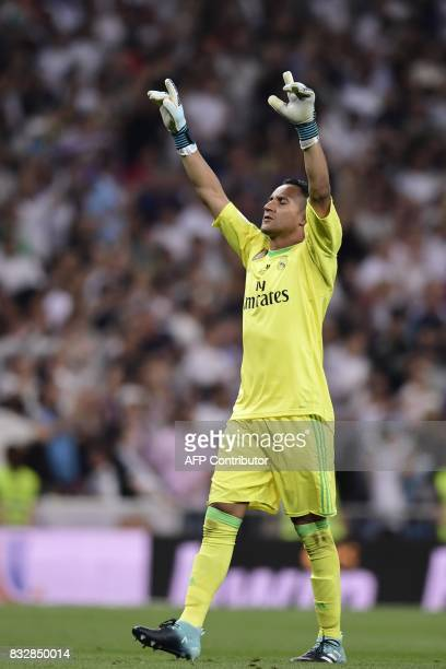 Real Madrid's Costa Rican goalkeeper Keylor Navas celebrates their second goal during the second leg of the Spanish Supercup football match Real...