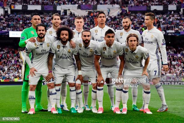 Real Madrid's Costa Rican goalkeeper Keylor Navas Real Madrid's defender Sergio Ramos Real Madrid's German midfielder Toni Kroos Real Madrid's French...