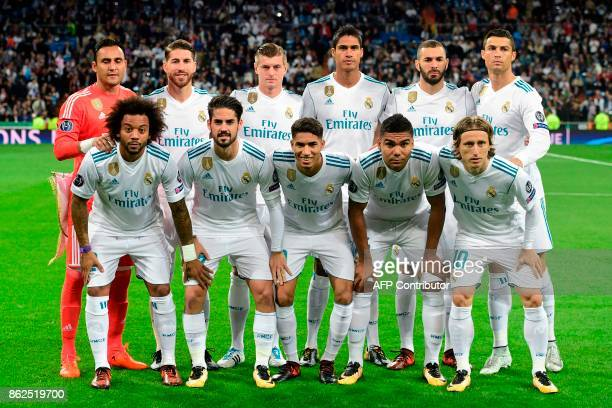 Real Madrid's Costa Rican goalkeeper Keylor Navas Real Madrid's Spanish defender Sergio Ramos Real Madrid's German midfielder Toni Kroos Real...