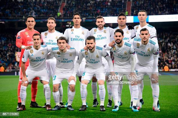 Real Madrid's Costa Rican goalkeeper Keylor Navas Real Madrid's Spanish defender Sergio Ramos Real Madrid's French defender Raphael Varane Real...
