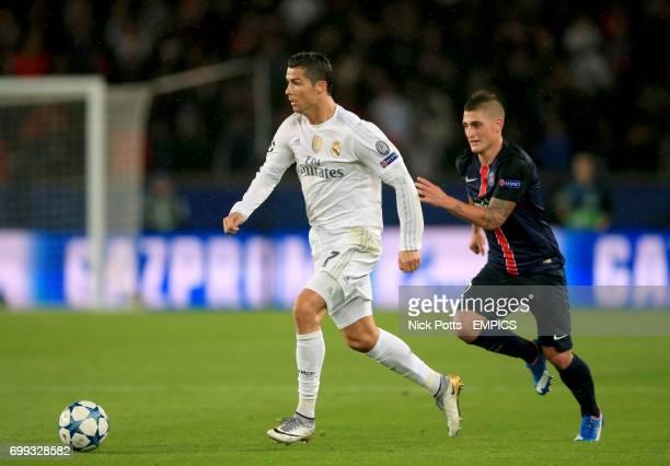 Real Madrid's Cristiano Ronaldo leaves behind Paris SaintGermain's Marco Verratti