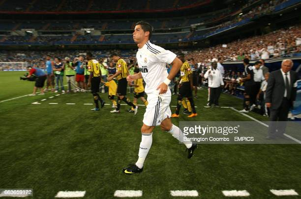 Real Madrid's Cristiano Ronaldo makes his home debut during the game against Al Ittihad