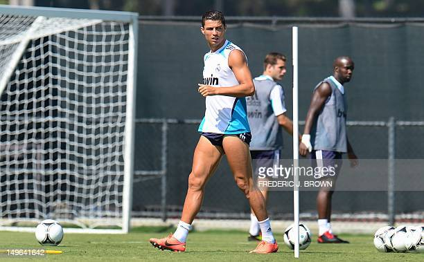 Real Madrid's Cristiano Ronaldo with his shorts pulled up high during a training sesison at UCLA on August 1 2012 in Los Angeles California ahead of...