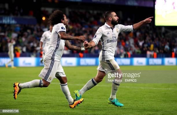 Real Madrid's Daniel Carvajal celebrates scoring his side's third goal of the game