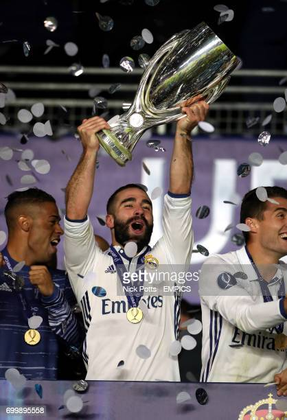 Real Madrid's Daniel Carvajal with the UEFA European Super Cup trophy