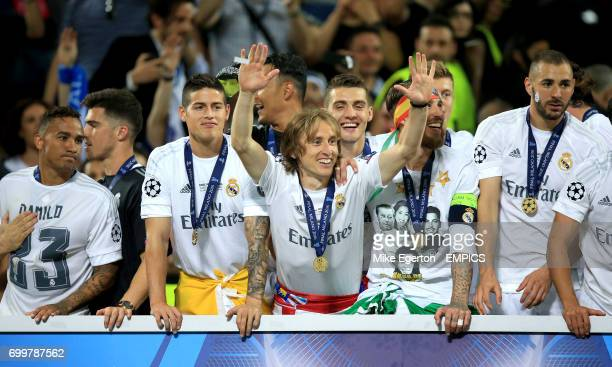 Real Madrid's Danilo James Rodriguez Luka Modric Sergio Ramos and Karim Benzema
