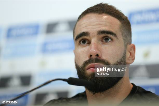 Real Madrid's defender Dani Carvajal speaks during a press conference at Real Madrid sports city in Madrid on August 15 on the eve of the Spanish...