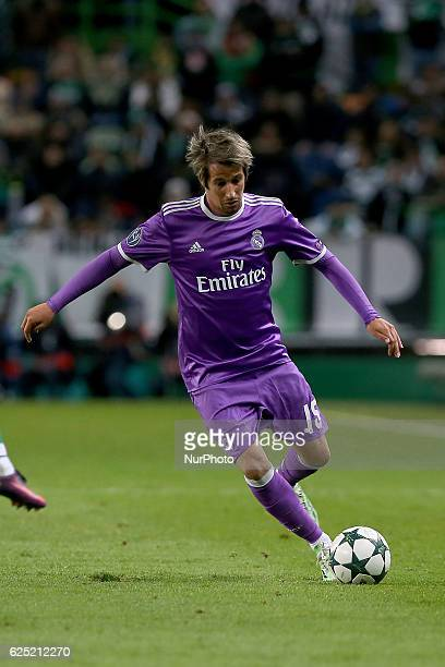 Real Madrids defender Fabio Coentrao from Portugal in action during the UEFA Champions League match between Sporting Clube de Portugal and Real...