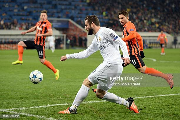 Real Madrid's defender Nacho controls the ball during the UEFA Champions League group A football match between Shakhtar Donetsk and Real Madrid in...