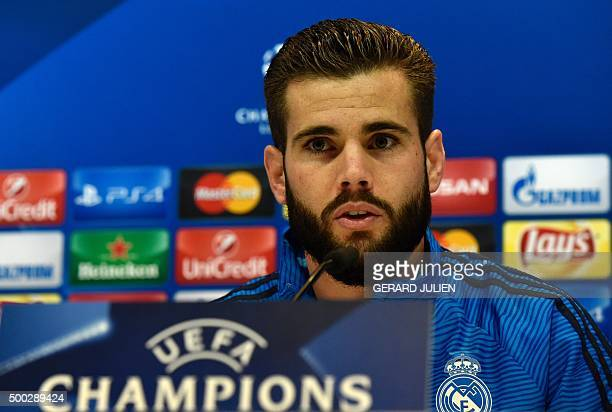 Real Madrid's defender Nacho Fernandez gives a press conference at Valdebebas training ground in Madrid on December 7 on the eve of the UEFA...