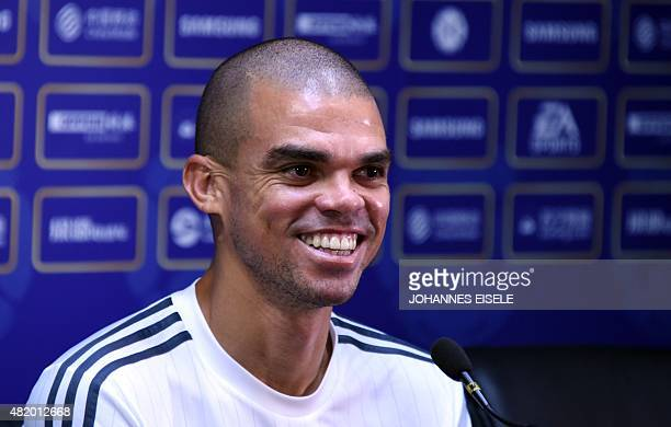Real Madrid's defender Pepe attends a press conference on the eve of the International Champions Cup football match between Inter Milan and Real...