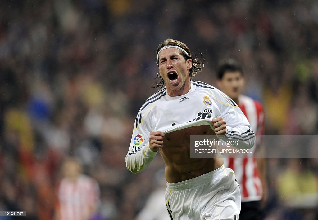 Real Madrid's defender Sergio Ramos celebrates after scoring against Athletic Bilbao during their Spanish League football match at Santiago Bernabeu stadium in Madrid on May 8, 2010.