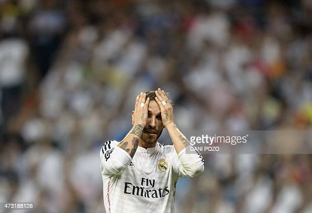Real Madrid's defender Sergio Ramos gestures during the UEFA Champions League semifinal second leg football match Real Madrid FC vs Juventus at the...