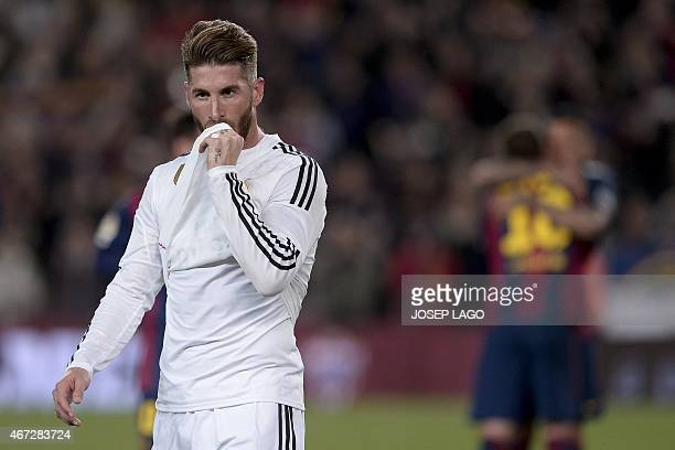 Real Madrid's defender Sergio Ramos looks on during the 'clasico' Spanish league football match FC Barcelona vs Real Madrid CF at the Camp Nou...
