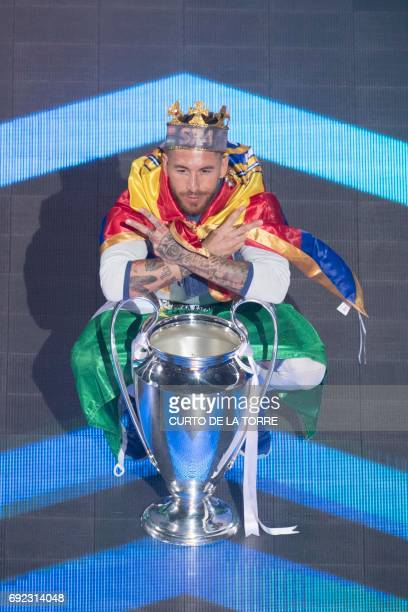 Real Madrid's defender Sergio Ramos poses during a celebration event held at the Santiago Bernabeu stadium after the team won the the UEFA Champions...