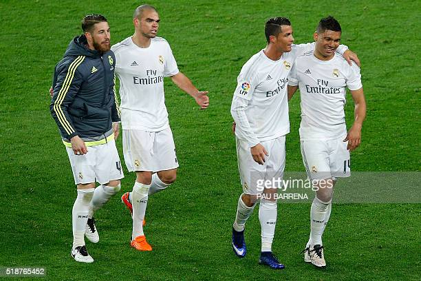 Real Madrid's defender Sergio Ramos Real Madrid's Portuguese defender Pepe Real Madrid's Portuguese forward Cristiano Ronaldo and Real Madrid's...