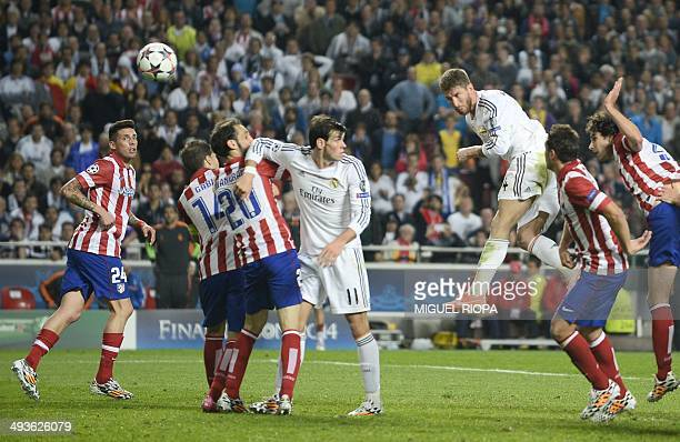 Real Madrid's defender Sergio Ramos scores during the UEFA Champions League Final Real Madrid vs Atletico de Madrid at Luz stadium in Lisbon on May...