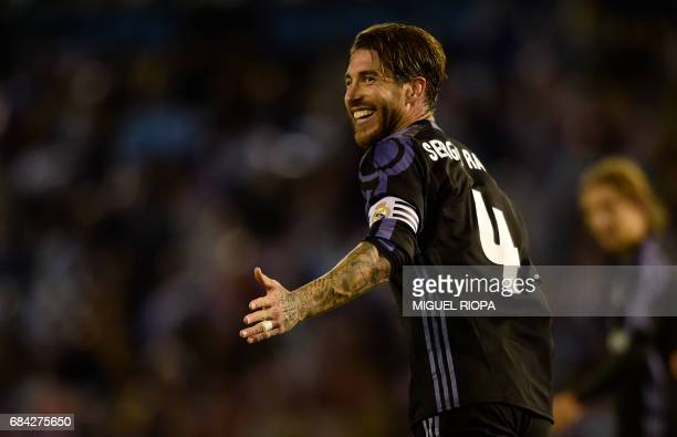 Real Madrid's defender Sergio Ramos smiles during the Spanish league football match RC Celta de Vigo vs Real Madrid CF at the Balaidos stadium in...