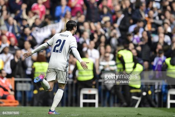 Real Madrid's forward Alvaro Morata celebrates a goal during the Spanish league football match Real Madrid CF vs RCD Espanyol at the Santiago...