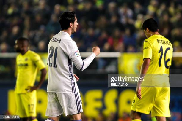 Real Madrid's forward Alvaro Morata celebrates after scoring a goal during the Spanish League football match Villarreal CF vs Real Madrid at El...